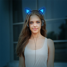 Cat Ear Headphones Foldable Flashing Headset Glowing Gaming LED light Earphones For iphone PC Laptop Computer Mobile Phone