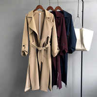 Mooirue Autumn Woman Jacket Cotton Single Breasted Rregular Sashes Long Trenchcoat Harajuku Korean Woman Red Blue Khaki Overcoat