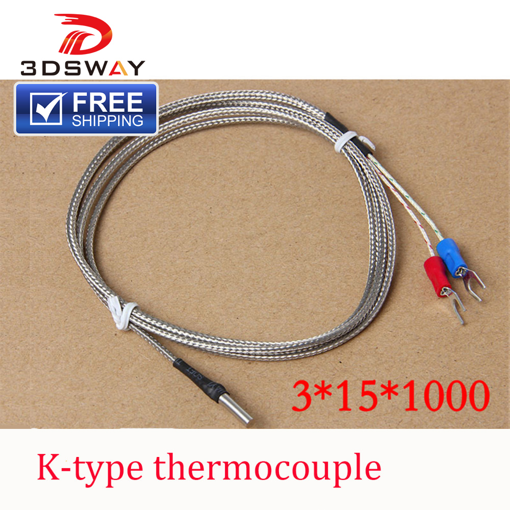 3DSWAY 3D Printer Accessories 5pcs/lot K Type Thermocouple Fitting Temperature Sensor 3*15*1000 for RAMPS 1.4 Prusa