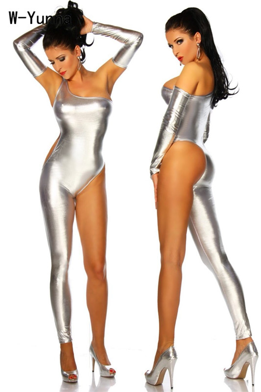Women's Clothing Charitable 2019 Sexy Night Club Imitation Leather Jumpsuit Gold/sliver/black One Leg Rompers Women Strapless Sleeve Separated Jumpsuits