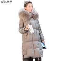 2018 Новый Для женщин зимние кожаные пуховик длинный меха с капюшоном пальто свободные натуральная кожа овчины куртка теплая внешней плюс Ра