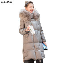 2018 New Women Winter Leather Down Jacket Long Fur Hooded Coat Loose Genuine Leather Sheepskin Jacket Warm Outer Plus Size AC214
