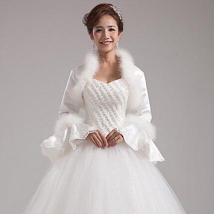 Hotsale Bride Cape White Long Sleeve Fur Bolero Elegant Wedding Dress Winter Coat