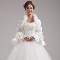 Hotsale bride cape white long sleeve fur bolero Elegant wedding dress winter bolero winter wedding coat