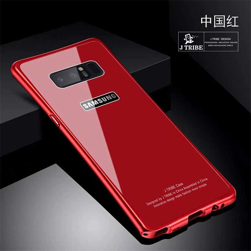 Luxury Metal Frame Case Aluminium Transparent Tempered Glass Back Cover Bumper Case For Galaxy S8 S9 Note 8 Note8