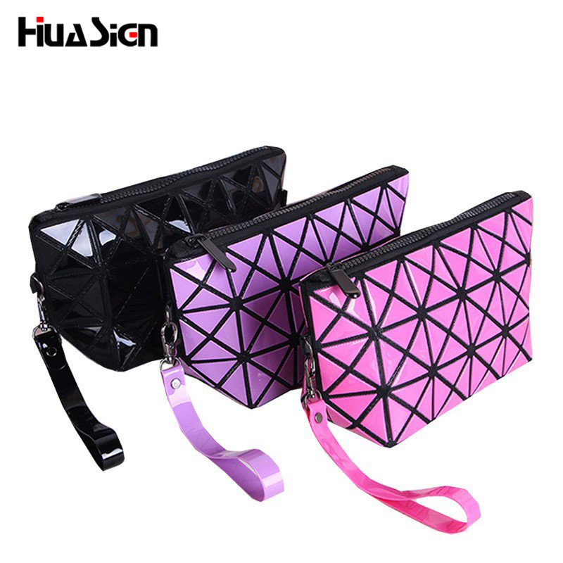 Small Cosmetic Bag for Make up Geometry Handbag Waterproof Travel Organizer Women Makeup Pouch Beauty Case Toiletry Bag