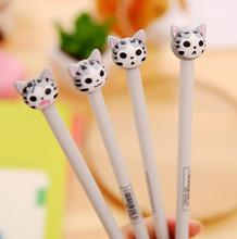 48 Pcs/lot 0.5mm New Arrival Cute Cheese Cat Gel Ink Pen Promotional Gift Stationery School & Office Supply FOD 4pcs lot 0 5mm cheese cat head pendant gel pen promotional gift stationery school