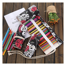 36/48/72 Holes Pens Case Pencil Kids Trousse  Scolaire Stylo School Purse Lederen Canvas Pouch Large Capacity Kawaii Lapiz Girl