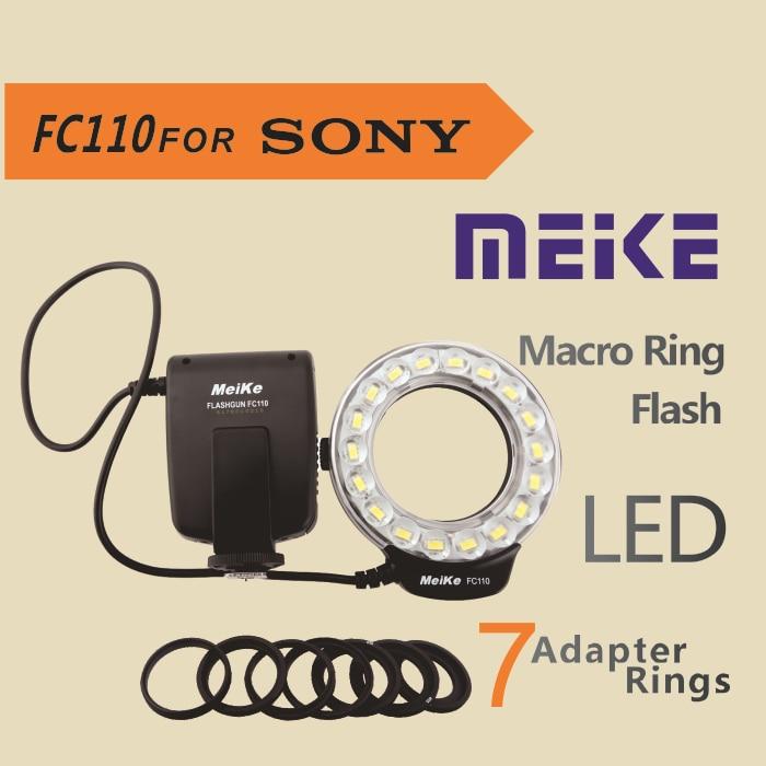 MEKE Meike FC-110 LED Macro Ring Flash Light FC110 for Sony DSLR Camera meike 5500k 32 led white macro ring flash light for nikon dslr 4 x aa