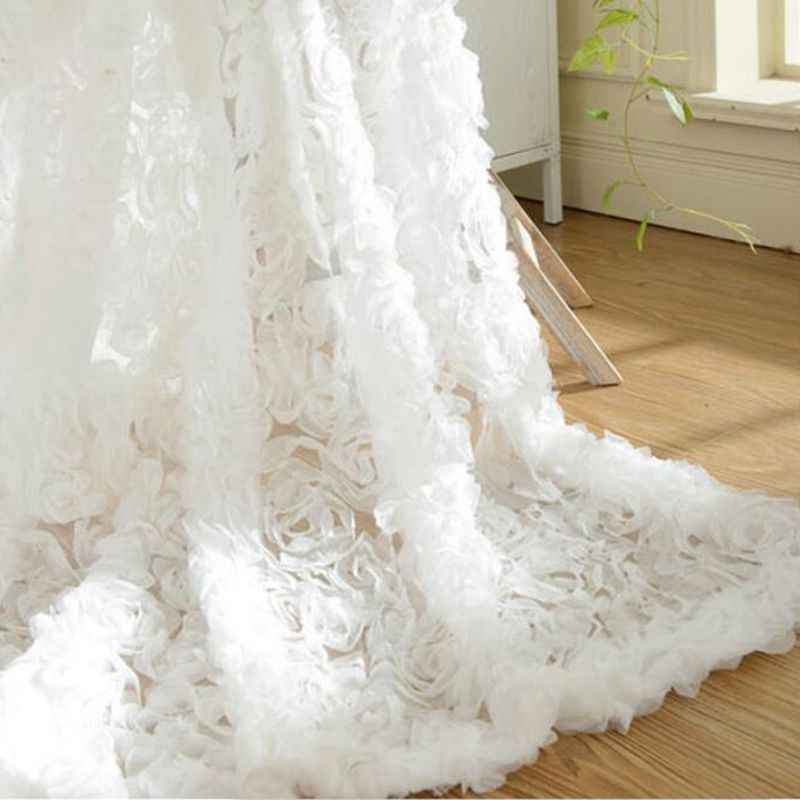 Pink Dream Romantic 3d Floral Window Curtains For Weeding Decor Sheer panels White Rose Tulle for Living Room  P148-40