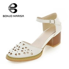 BONJOMARISA 2017 Sweet Big Size 34-43 Cut Outs Women Pumps Leisure Ankle Strap Med Square Heels Woman Shoes For Dating