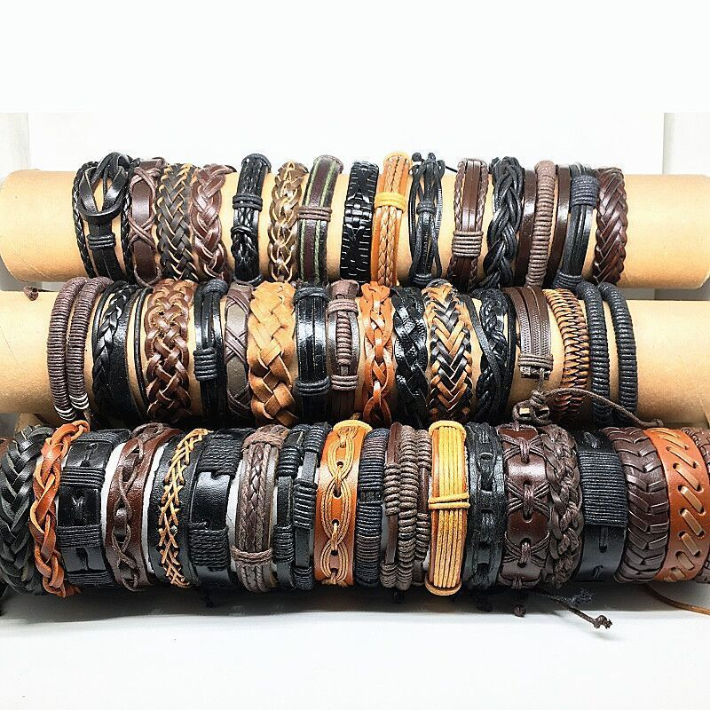 Image 3 - Wholesale 50pcs Leather bracelets and bangles for men women 