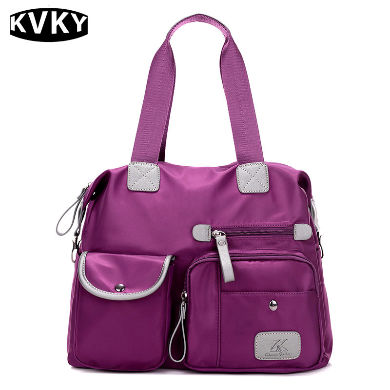 KVKY New Women nylon Oxford cloth shoulder bag large canvas handbags European an