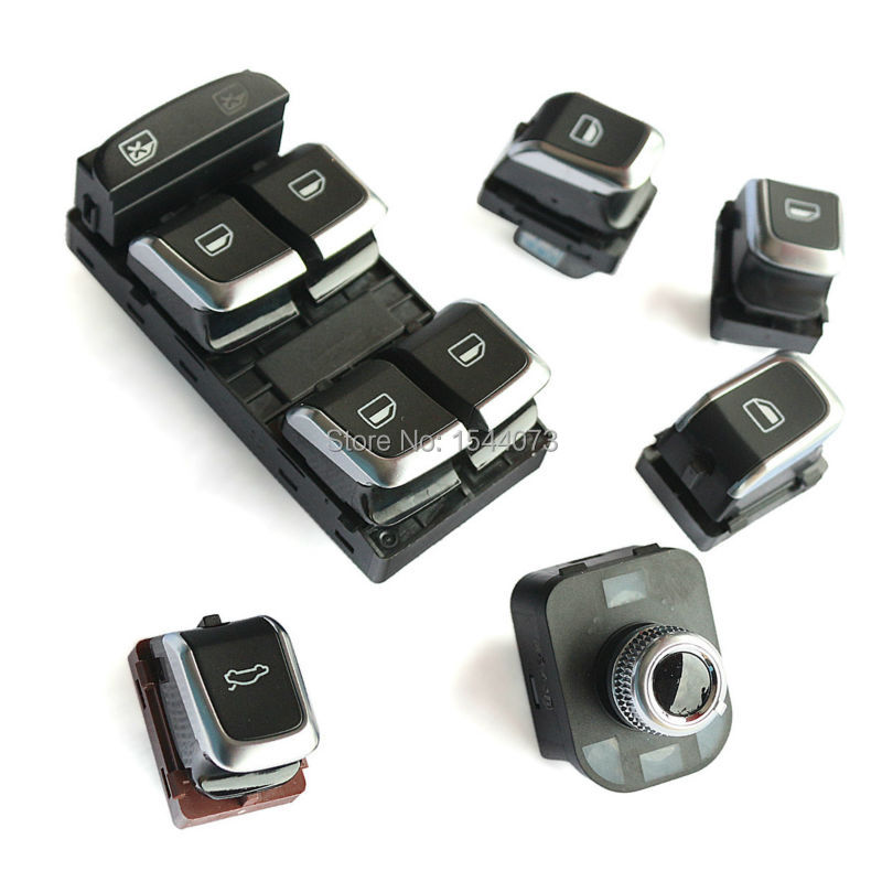 ФОТО 6x/Set OE Chrome Master Window Mirror Trunk Switch Button For Audi A4 S4 B8 Q5 A5 8KD959565B 8UD959851A 8KD959855A