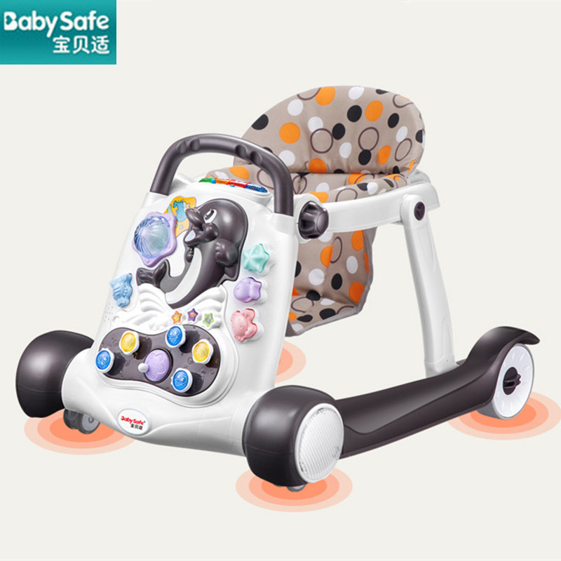 babysafe baby walker anti-rollover multi-function with music baby 6/7-18 months hand push can sit children's walker 2018 hot раннее развитие росмэн раскраска читалка игрушки
