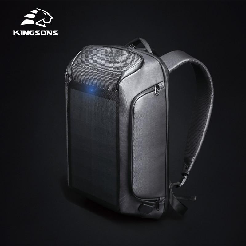 Kingsons рюкзак для безопасности, мужские дорожные панельные рюкзаки с солнечной зарядкой, эффективные сумки через плечо, противоугонные рюкзаки