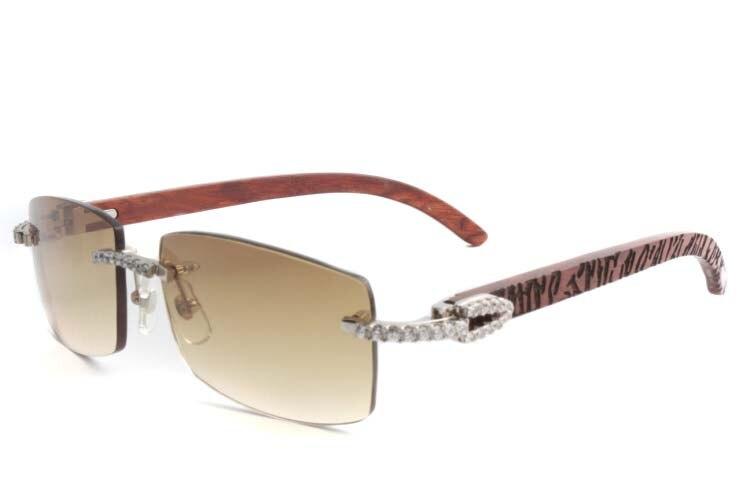 Cartier 3524012 New Diamond Lattice Wood Sunglasses Silver (1)