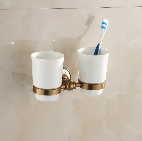 space aluminum antique porcelain Double tumbler cup holder toothbrush holder bathroom accessory bathroom furniture toilet 2017 latest model rubber spray technology black single tumbler cup holder toothbrush holder bathroom accessory