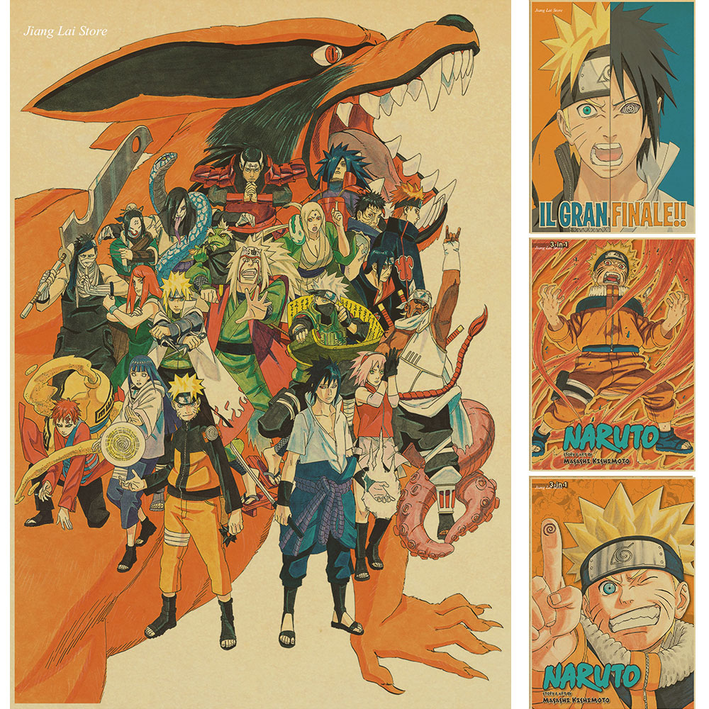 Naruto Poster Wall-Sticker Wanted Home-Decor Retro Luffy One-Piece Anime Vintage Cafe