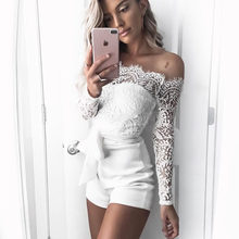 71029118abc9 Bohemian White Lace jumpsuit Summer Sexy Off Shoulder long sleeve Overalls for  women Short pants bodysuit slash neck bow rompers
