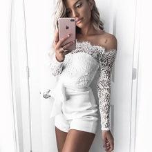 7e2fa9719b1 Bohemian White Lace jumpsuit Summer Sexy Off Shoulder long sleeve Overalls for  women Short pants bodysuit slash neck bow rompers