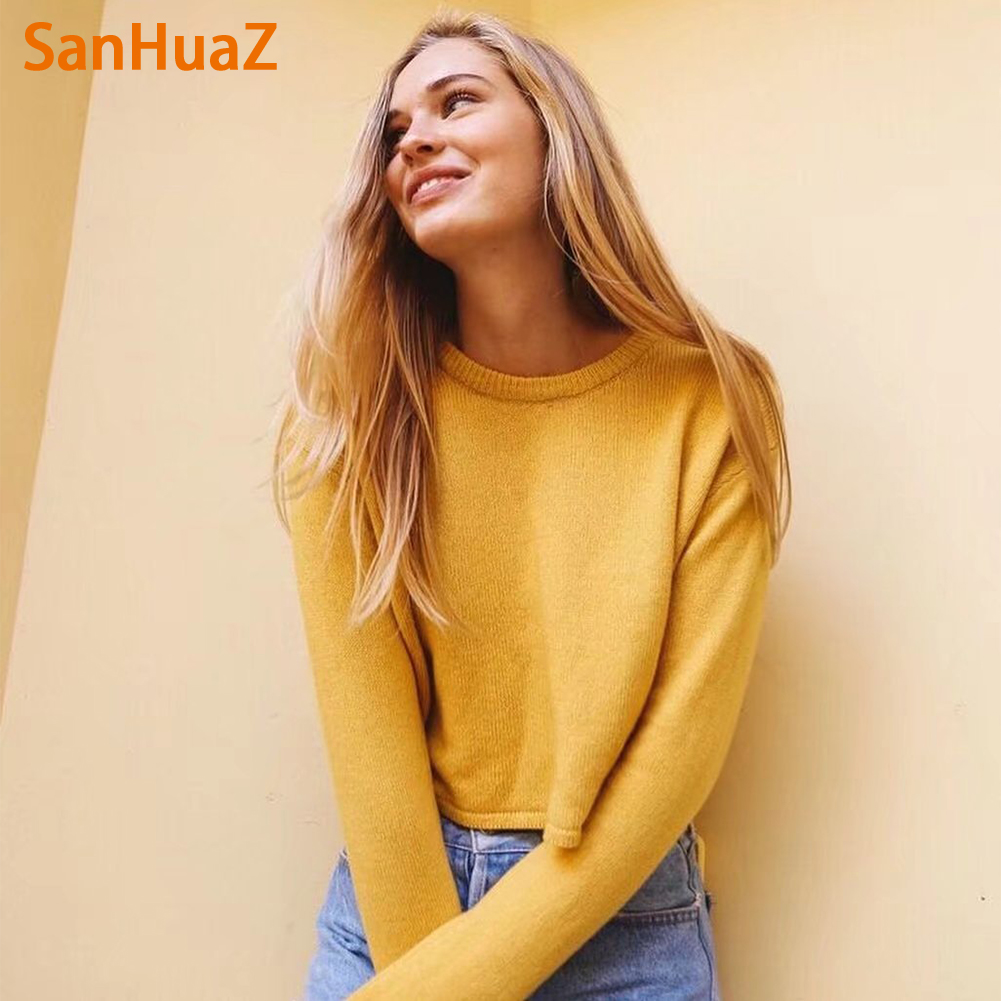 SanHuaZ Sweater Women 2017 Winter Autumn Pullovers Christmas Sweaters Knit Long Sleeve O Neck Short Female