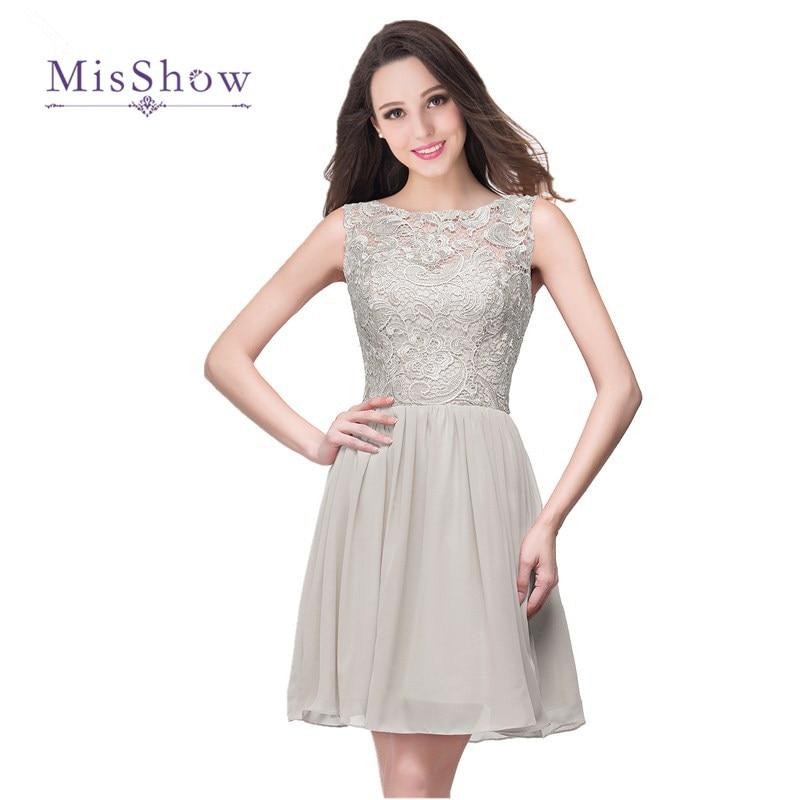 MisShow Simple 10 Colors A Line Silver Lace Short   Bridesmaid     Dresses   2017 Elegant Chiffon Wedding Party Gown Vestido Madrinha