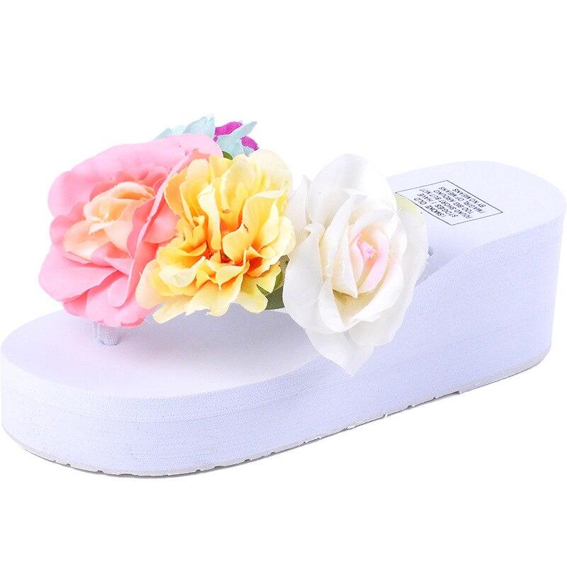 Новые Вьетнамки с цветами Женские Вьетнамки Летние Пляжные сандалии женские шлёпанцы белый триггеров