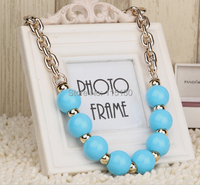 Statement Colorful Choker Pearl Bead Pendants Necklaces Women Vintage Gold Chain Collar Necklace Fashion Jewelry 2014