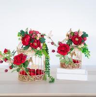 Свадебные украшения окна искусственные шелковые цветы цветок железной клетке Свадебные украшения фотографический фон реквизит