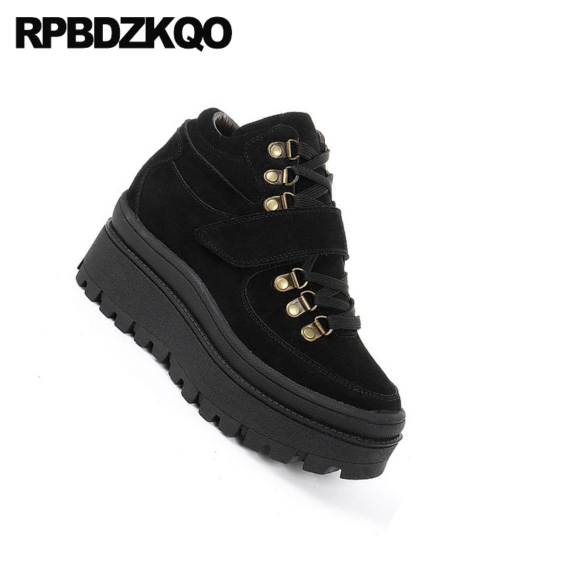 Booties Round Toe Shoes Front Lace Up Casual Ankle Boots Autumn Fall Brown Women Cheap Suede 2017 Short Muffin New Chinese