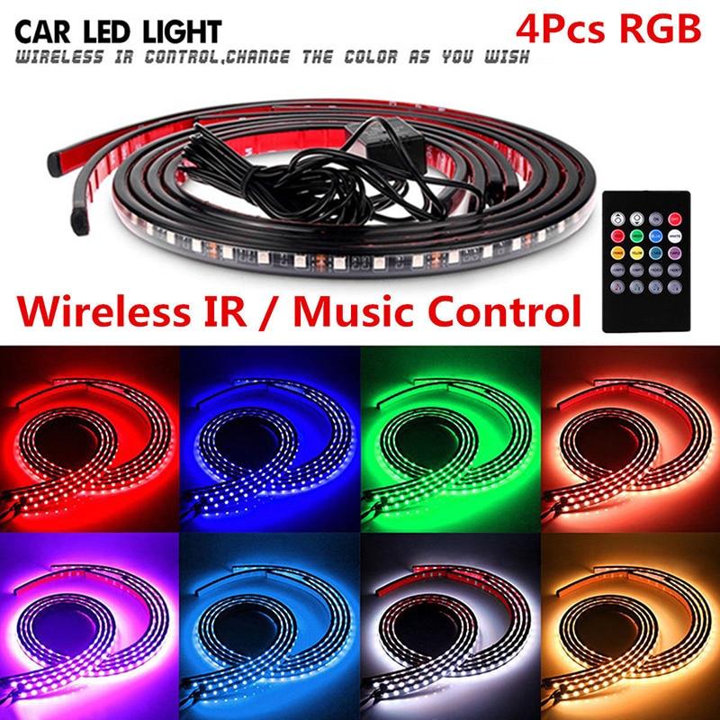 4 pièces bande de LED rvb sous la lumière de néon de contrôle de musique de sous-corps de voiture