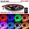 4pcs RGB LED Strip Under Car Underglow Underbody Music Control Neon Light