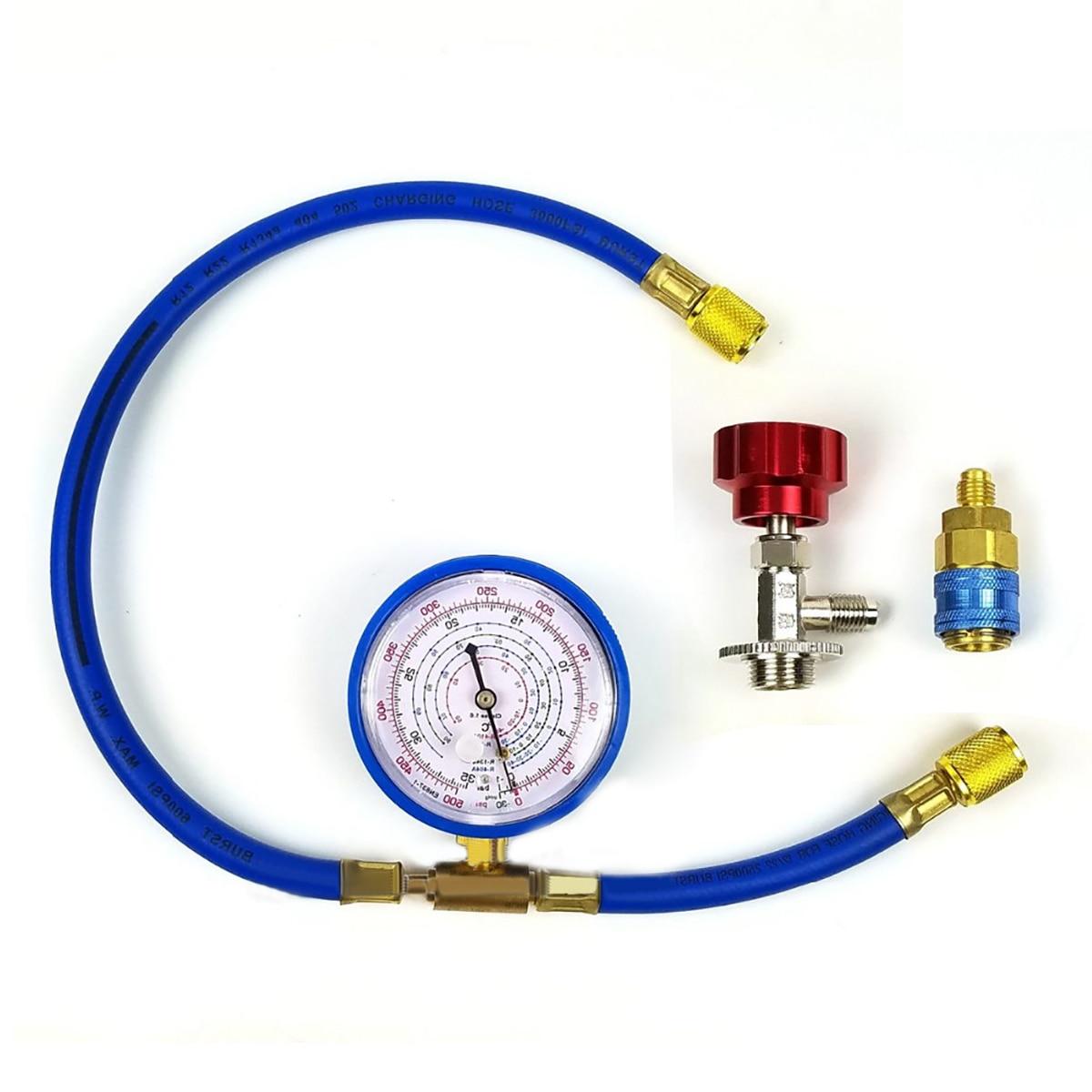 1 Set New M14 R134a Refrigerant Charging Hose With Gauge Recharge Measuring Tool1 Set New M14 R134a Refrigerant Charging Hose With Gauge Recharge Measuring Tool