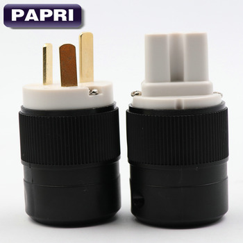 цена на PAPRI FP-01Eu DIY EU Schuko Power Plug European Standard Gold Plated Plugs HiFi For Electrical Power Cable Connector