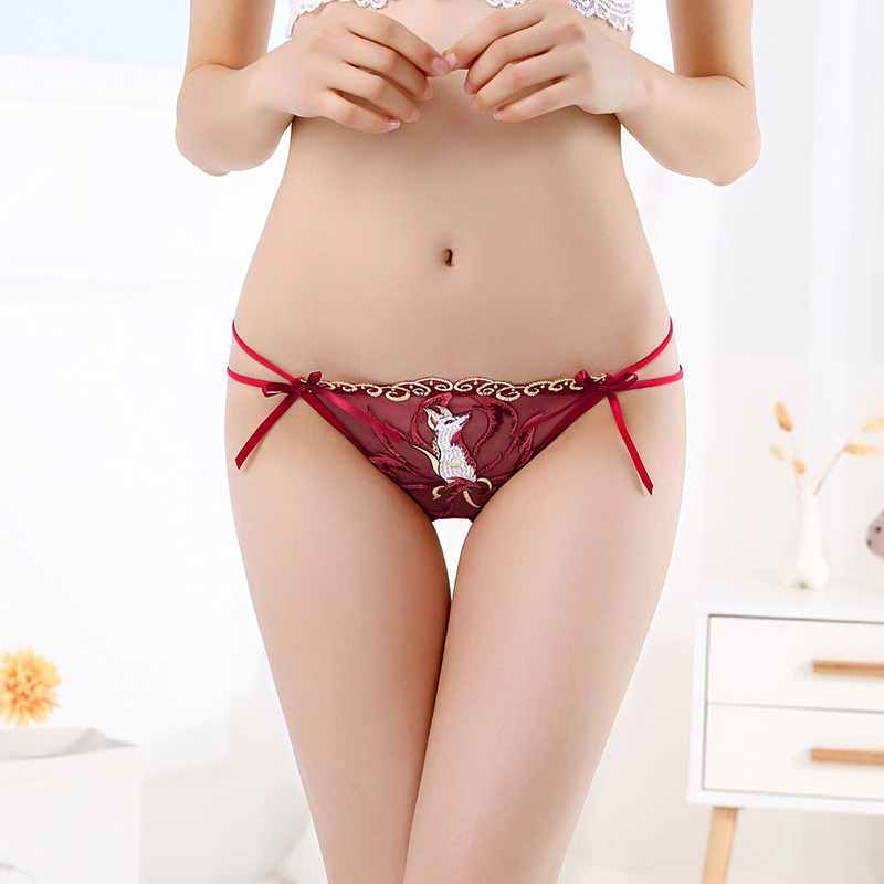 2a210a1881d Detail Feedback Questions about 2018 Sexy Panties Women Fox Embroidery Lace  Transparent Brief Bow Low Waist Hollow Out Cotton Crotch Ladies Underwear T  back ...