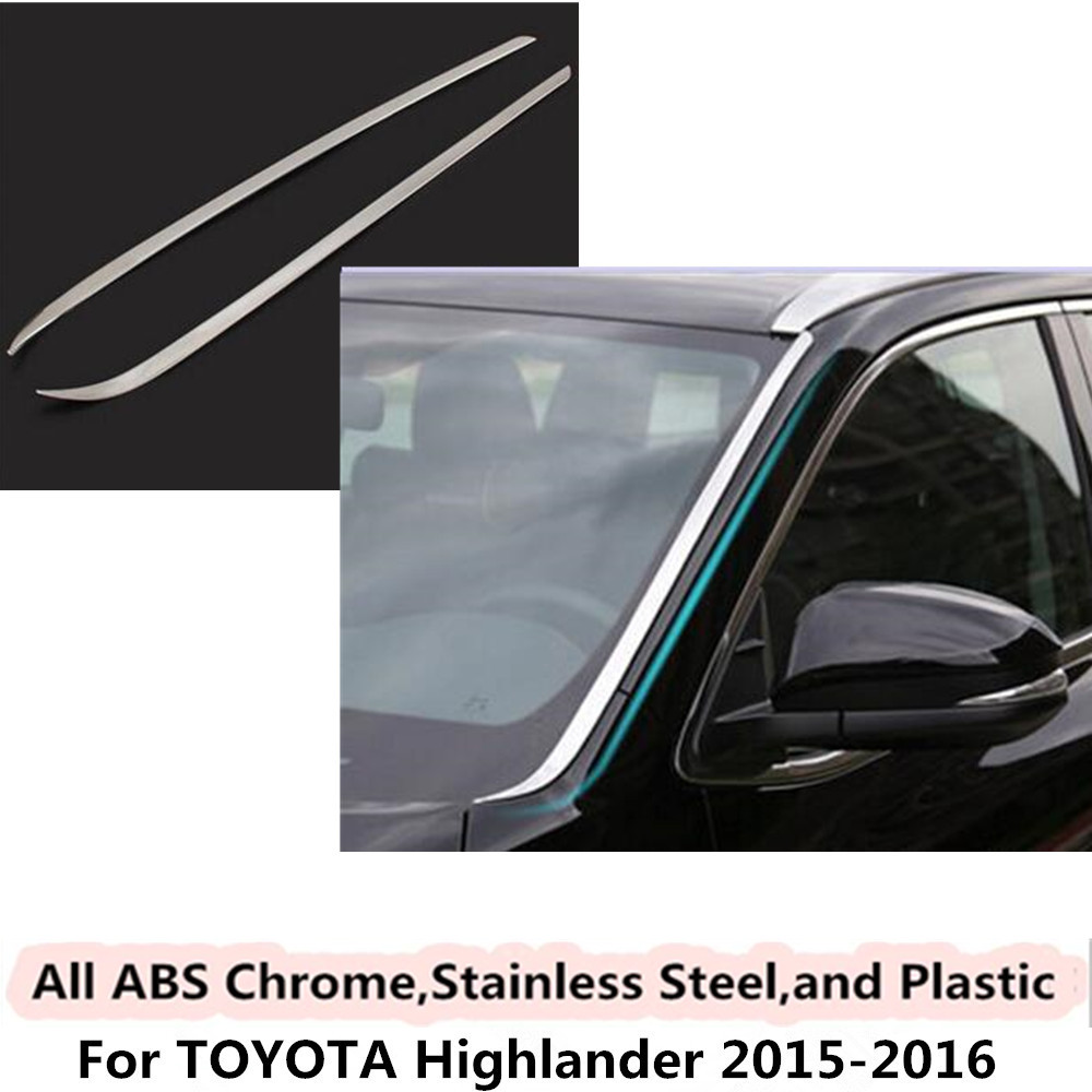 For Toyota Highlander 2015 2016 car side cover stick stainless steel front head glass windshield A column lamp frame trim 2pcs