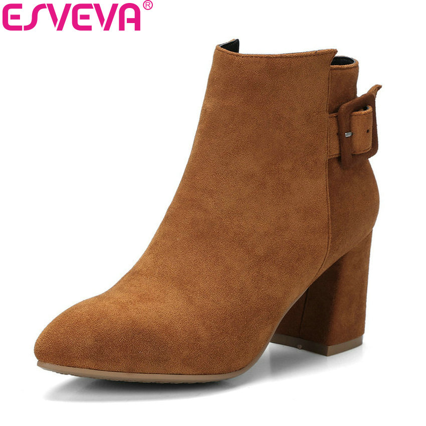 ESVEVA 2018 Women Boots Elegant Chunky Short Plush Ankle Boots Square High Heel Slim Look Pointed Toe Boots for Women Size 34-42 esveva 2018 high heels women boots short plush boots square heels elegant chunky pointed toe ankle boots ladies shoes size 34 39