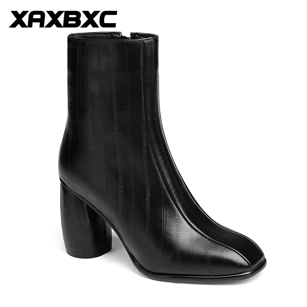 XAXBXC 2017 Retro British Winter Square Toe Genuine Leather Short Ankle Boots Warm Women Boots Handmade Casual Lady Shoes serene handmade winter warm socks boots fashion british style leather retro tooling ankle men shoes size38 44 snow male footwear