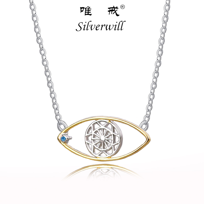 Silverwill sterling 925 silver gold color evil eye necklace women fashion pendant decorative jewelry birthday gift for mujer tongzhe 2018 evil eye necklace 925 sterling silver cubic zirconia gold pendant necklace women new zealand jewelry collares