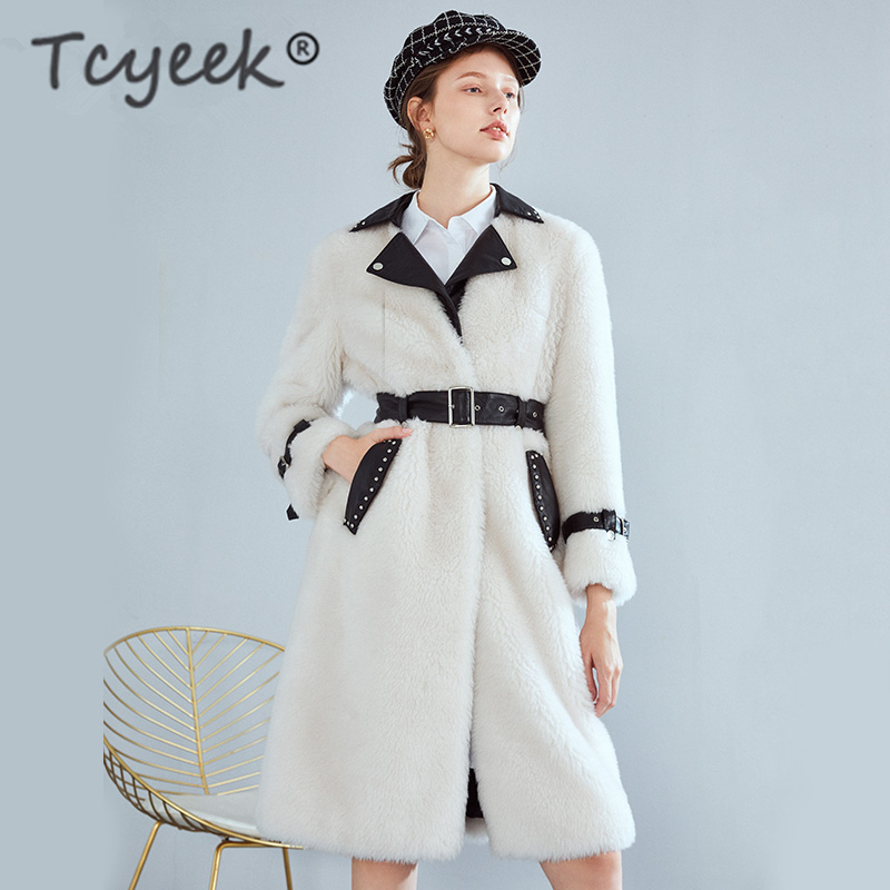 Tcyeek Real Fur Coat Female Winter Real Leather Jacket + Belt Korean Sheep Shearing Long Coats Ladies Thick Warm Jacket 18F34483