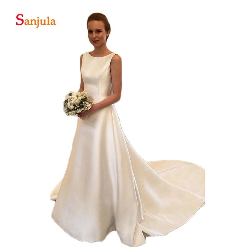 Robes de mariée en Satin ivoire 2019 dos nu a-ligne robes de mariée de mariée retour arc Simple robes de mariée abito da sposa D797