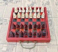 Novo Exército de Terracota Chessman Vingtage Estilo 3D Caixa de Madeira Jogo De Xadrez Jogo de Tabuleiro Jogo de EQ