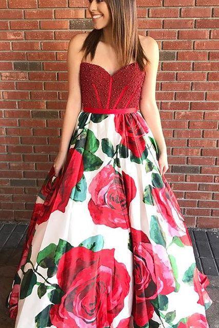 2020 una línea Floral Vestidos De graduación cariño perla roja con cuentas cintura Natural Vestidos Largos De Fiesta Elegante Formal largo - 4
