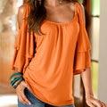 Las mujeres ocasionales del hombro sólido slim fit media manga sheathy superior blusas orange/rojo/azul s/m/l/xl/xxl