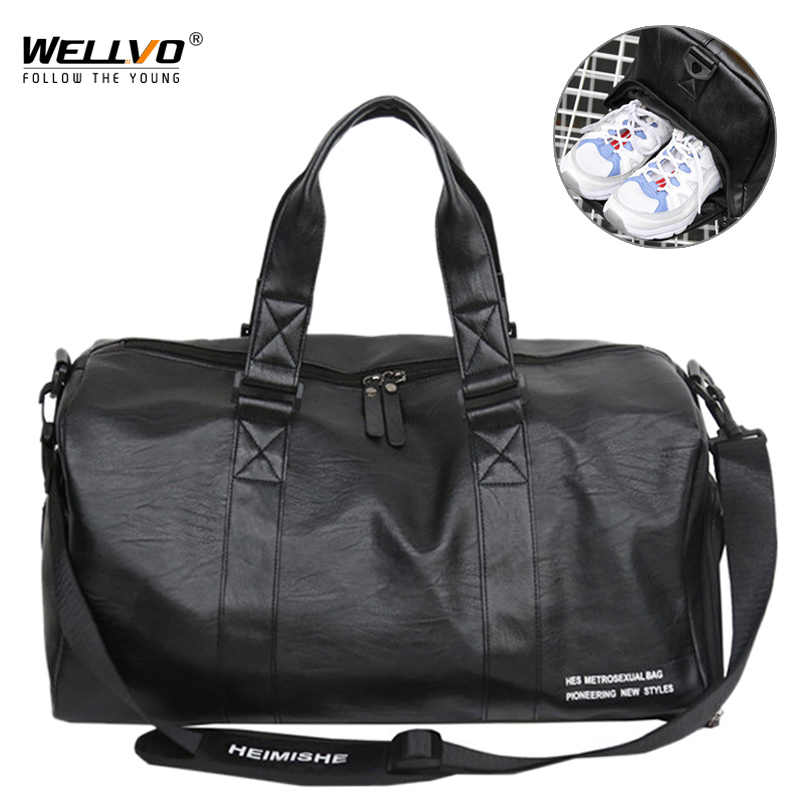 052d0c1b453b Men s Leather Travel Bag Foldable Portable Shoes Shoulder Bags Luggage  Large Capacity Travel Tote Women Duffle