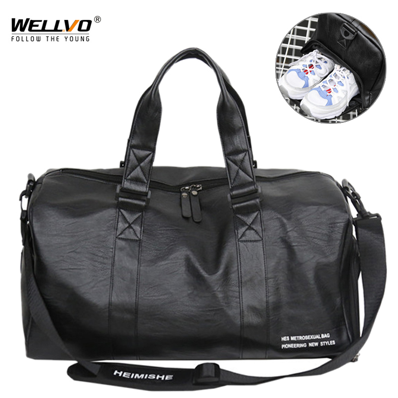 Men's Leather Travel Bag Foldable Portable Shoes Shoulder Bags Luggage Large Capacity Travel Tote Women Duffle Handbag XA160ZC
