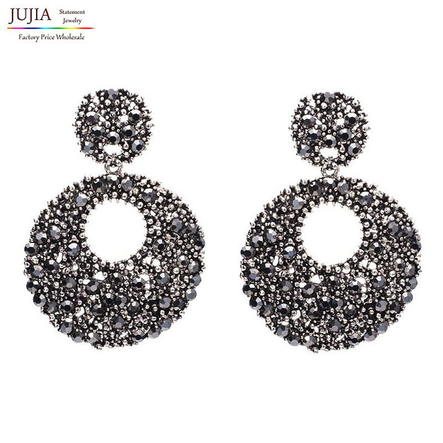 Good quality New arrive 2017 Trend fashion women earrings crystal vintage big round statement Earrings for women jewelry
