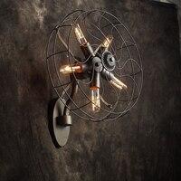 Оригинальность винтажная одежда вентилятор Кофейня настенная лампа декоративная лампа толстый материал
