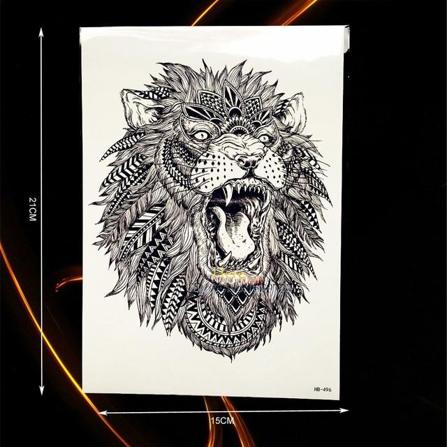 Grand Animal Bras Tatouage Indien Roi Lion Tete Conception Etanche
